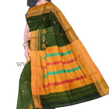 Ilkal Silk by Cotton Kasuti Work Saree