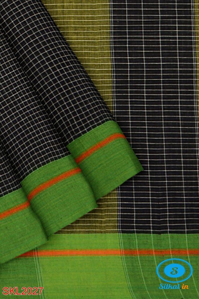 RAMDURGA HANDLOOM COTTON BY COTTON SMALL CHECKS SAREES